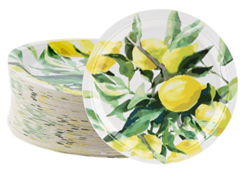 Disposable Plates - 80-Count Paper Plates, Lemon Party Supplies for Appetizer, Lunch, Dinner, and Dessert, Brunch and Garden Party, 9 x 9 Inches -