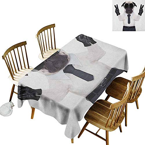 DONEECKL Pug Wrinkle Free Tablecloth Indoor and Outdoor Tablecloth Fancy Looking Pug Victory Sign with Both Paws Wearing Cool Black Sunglasses Animal Fun Black White W60 xL84