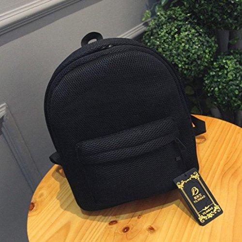 Malloom Moda verano mujeres chicas Net hilados red mochila bolso (morado) negro