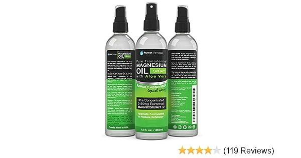 Amazon.com: Pure Magnesium Oil Spray with Organic Aloe Vera -Safe ...