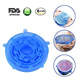 Silicone Stretch Lids Wuudi 6 Pack of Various Sizes BPA Free FDA Approved Food Covers for Cups, Pots, Can,bowls,Dishes,Jars