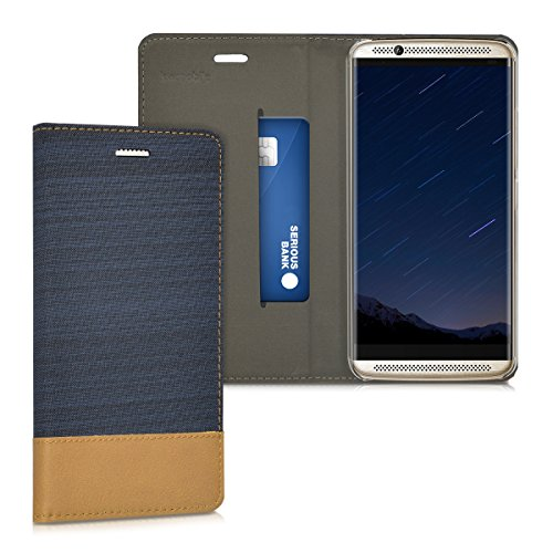 kwmobile Book Style Case for ZTE Axon 7 - PU Leather Fabric Protective Wallet Cover with Stand - Dark Blue/Brown -
