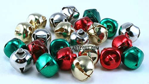 Silver Gold Red Green Mix Small Jingle Bells