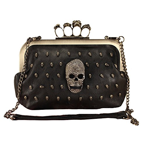 Magibag Gothic Skull Leather Shoudler Bag Halloween Punk Rhinestoned Studded Handbag Clutch ()