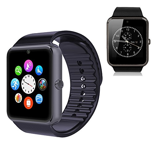 YEMON Smart Watches Bluetooth with Camera Compatible with Iphone Android That Can Text Rose Gold / Silver / Grey (cyan-greyblue)