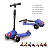 XJD Kids Scooters Adjustable Height Toddler Scooters 3 Wheel Folding Extra-Wide Deck 5CM Big PU Flashing Wheels 100% Assembled (Blue)