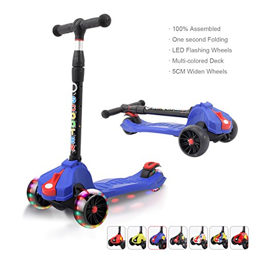 XJD Kids Scooters Adjustable Height Toddler Scooters 3 Wheel Folding Extra-Wide Deck 5CM Big PU Flashing Wheels 100% Assembled (Blue) by XJD