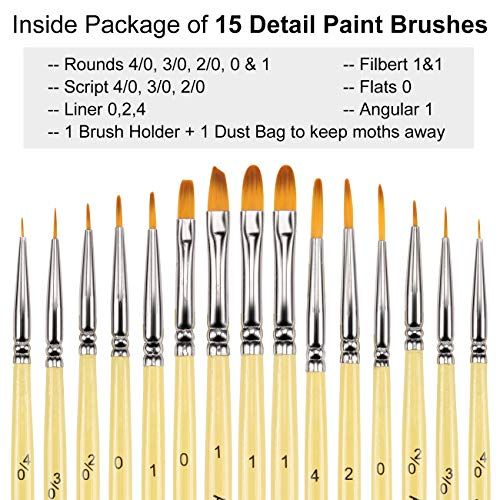Miniature Paint Brushes - 15 pcs Acrylic Paint Brush Set for Fine Detailing, Different Sizes Paint Brushes for Acrylic Watercolor Oil Gouache Paint - Free Holder and Travel Bag