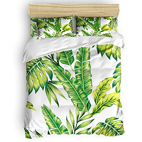 (4-Piece Bedding Sets, Tropical Banana Leaves Green White Comforter Set - Duvet Cover, Bed Sheets, Pillow Cases for Childrens/Kids/Teens/Adults, Queen Size)