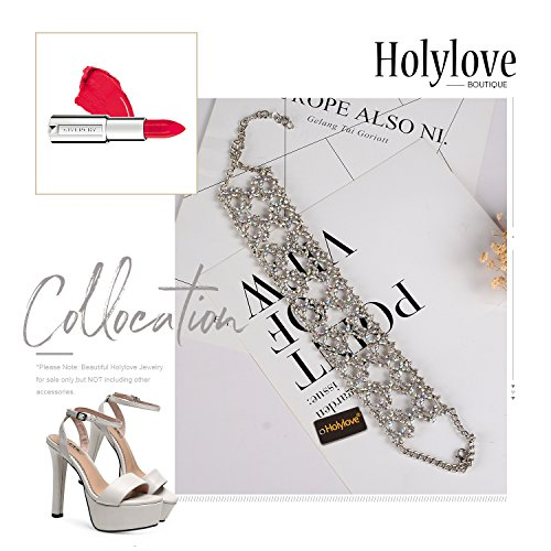 Holylove Crystal Chunky Choker Wide Chain Bib Collar Statement Necklace-HLN47 Crystal by Holylove (Image #4)