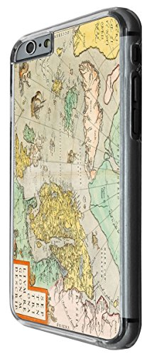 1111 - cool fun vintage world map marine navigation Design For iphone 6 Plus / iphone 6 Plus S 5.5'' Fashion Trend CASE Back COVER Plastic&Thin Metal -Clear