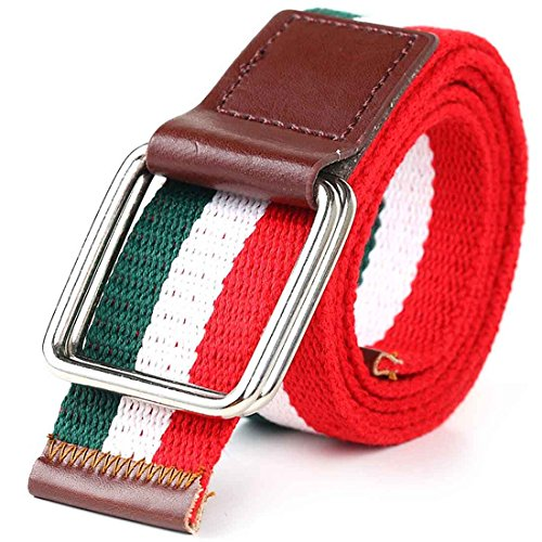 Nidicus Mens Double Rings Buckles 3-Stripes Cotton Webbed Wasit Belt Leather Tips Red/White/Green Cotton Striped Belt