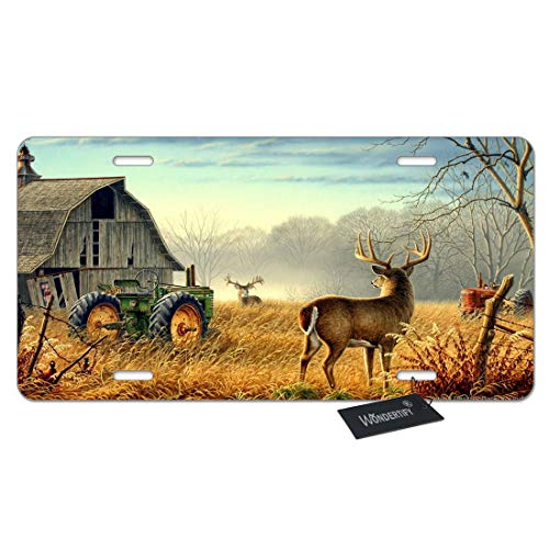WONDERTIFY License Plate Farm House Forest Tractor and Cute Deer Elk Decorative Car Front License Plate,Vanity Tag,Metal Car Plate,Aluminum Novelty License Plate for Women/Boy/Girls Car,6 X 12 Inch ()