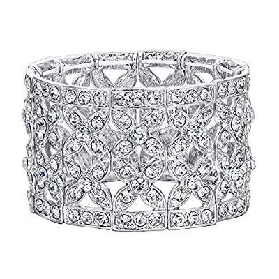 EVER FAITH Women's Austrian Crystal Elegant 2 Layers Hollow-Out Bridal Flower Leaf Stretch Bracelet
