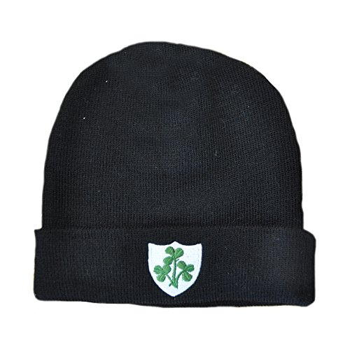 Carrolls Irish Gifts De Punto Turn Up Beanie Gorro con Bordado Shamrocks, Negro Color
