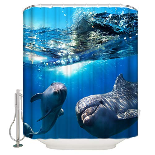 (YEHO Art Gallery Unique Bathroom Shower Curtain with Hooks Rings,Cute 3D Dolphins Submarine World,Extra Long Fabric Curtains Set,36 x 72 Inch)