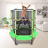 """LBLA Kids Trampoline, 55"""" Mini Trampoline for Kids with Enclosure Net and Safety Pad, Heavy Duty Frame Round Trampoline with Built-in Zipper for Indoor Outdoor (Green)"""
