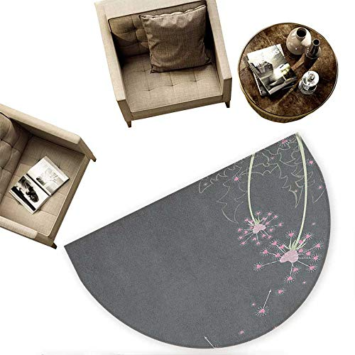 Pink and Grey Semicircular Cushion Dandelion Flowers with Hearts Pastel Love Celebration Anniversary Entry Door Mat H 78.7'' xD 118.1'' Pink Grey Pale Green