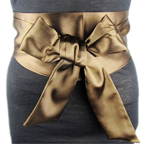 (Silk Bow Belt Beyaz Kemer Red Blue Black Brown Women Wide Waist Wedding Dress Belt Sash Cinturon Boda Ceintures Pour Femmes Riem Coffee)