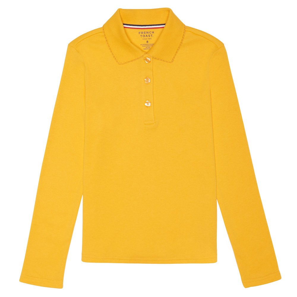 French Toast Girls' Long Sleeve Interlock Polo with Picot Collar SA9424
