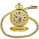 OUYAWEI Pocket Watch Mens Skeleton Mechanical Hand Wind Roman Numerals Sun Moon Diamond