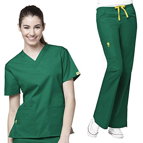 WonderWink Origins Women's 6016 Bravo Top & 5026 Romeo Pant Medical Uniform Scrub Set (Hunter Green - Small)