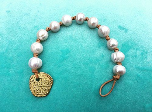 Fresh Water Pearl Bracelet Atocha Coin Replica Clasp (Coin Bracelet Freshwater Pearl)