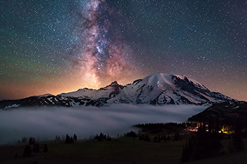 (Mountains Stars Sky Scenery USA Cascades Mount Rainier Washington (No.011185) - Poster Art Print on Canvas 24x16 inch)