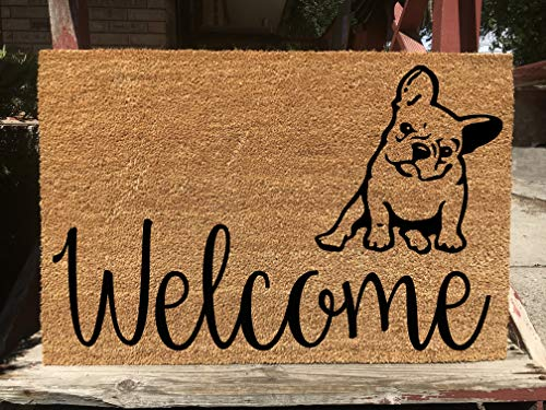 KiwiCraftdom - French Bulldog Head Tilt!! Dog Puppy Inspired Doormat - Large Welcome Door Mat - Cute Housewarming Gifts - Fun Birthday Present