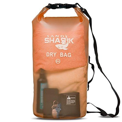 Premium Waterproof Dry Bag by SandShark- Transparent 10 & 20 Liter Floating Sack for Boating, Camping, Kayaking, Swimming, Beach and Watersports-Side and Shoulder Strap. (Orange Blast, 20L)