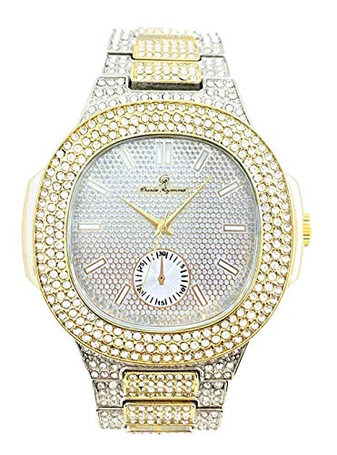 Bling-ed Out Oblong Case Mens PP Look Watch with Matching Bling-ed Out Cuban Bracelet and King Ring Set - 8475 CR Cuban Set