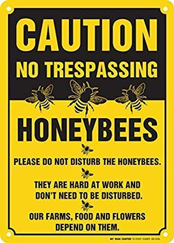 Metal Sign Stanley Caution No Trespassing Honeybees at Work Sign Rust Free UV Protected and Weatherproof 12x16 inches