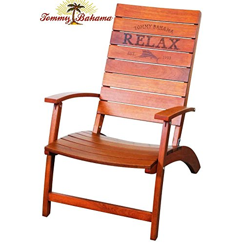 Tommy Bahama Folding Adirondack Chair Made of 100% Solid Eucalyptus Wood | No Assembly Required ! (Chair Solid Eucalyptus)