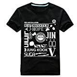 KPOP BTS Tokyo Wake Up Concert T-Shirt Bangtan Boys Rap Monster Jung Kook V Unisex Tshirt Suga Tee (Black, L)