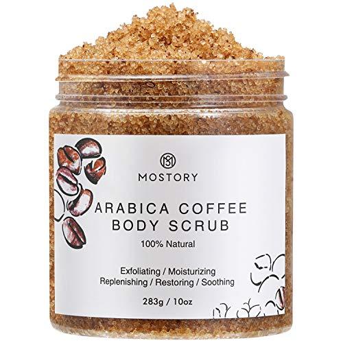Arabica Coffee Exfoliating Body Scrub - Organic Cellulite Exfoliator Dead Sea Salt Anti-Acne Wrinkles Vitamin E Vitamin C Coconut Oil Natural Scrubing Moisturizing Scrubs For Women Men 10 oz