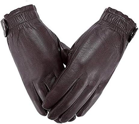 シープスキン冬プラスベルベット暖かく防風防水の機関車に乗って革のタッチスクリーンの手袋 (Color : 褐色, サイズ : L)