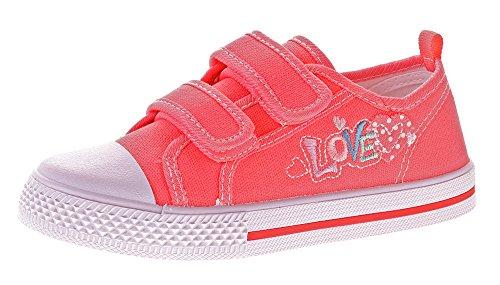 Norn Kinder Leinen Schuhe Hausschuhe Zweifach-Klettverschluss Kita Mädchen Stoff Halbschuhe Gr. 31-36 Rot