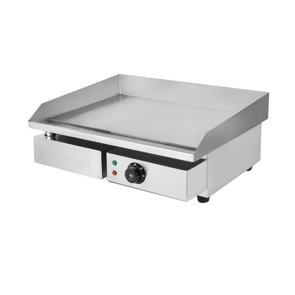 Electric Griddle 1500W Commercial Electric Countertop Griddle BBQ, Stainless Steel Adjustable Temp Control Restaurant Grill