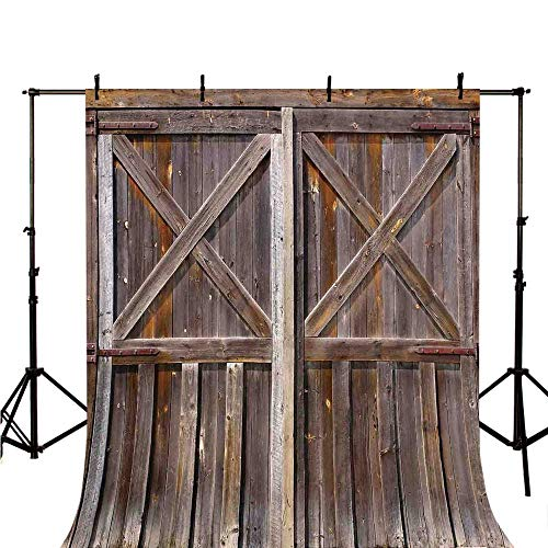 Rustic Stylish Backdrop,Old Wooden Barn Door of Farmhouse Oak Countryside Village Board Rural Life Photo Print for Photography,118