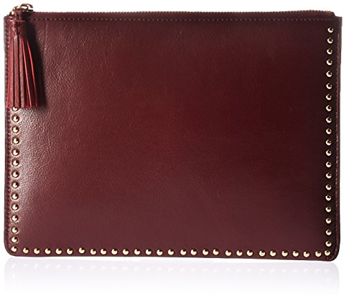 The Fix Cora Studded Leather Flat Clutch with Tasseled Zipper, Wine