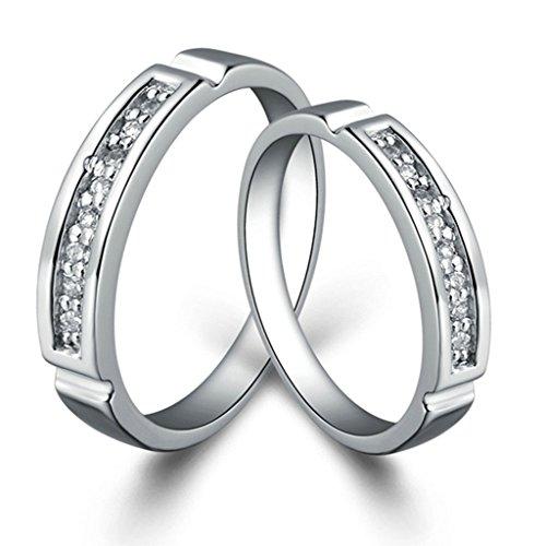 KnSam Women Platinum Plate Engagement Rings Channel Set White Size 7 Crystal 1PCS [Novelty - Set Gem Channel Rainbow
