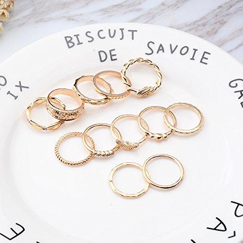 Los anillos de apilamiento de la extremidad del dedo del nudillo del Bowknot del Rhinestone de las mujeres 12pcs mediados de fijaron