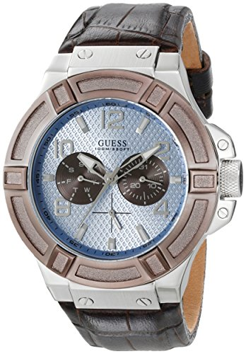 GUESS-Mens-U0040G10-Rigor-Multi-Function-Watch-with-Brown-Band