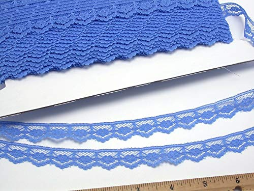 - Sewing Craft DIY - Flat lace 5/8 (16mm) Blue Floral Scallop 50 Yards - Closeout Bolt - Trims Variety of Colors, Styles and Materials