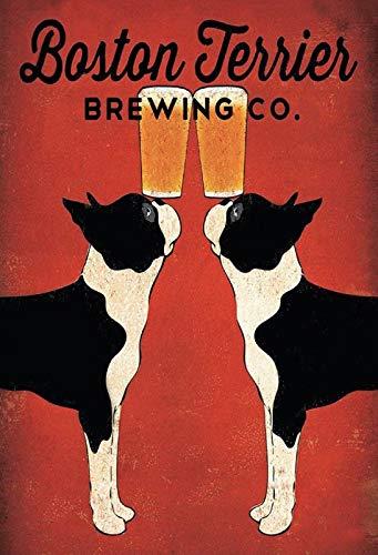 Cartel de Chapa genérica 20 x 30 cm Boston Terrier Brewing ...