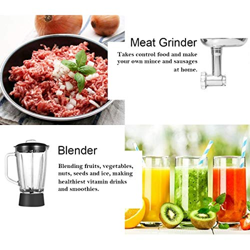 COSTWAY 3 In 1 Upgraded Stand Mixer with Stainless Steel Bowl Blender Meat Grinder Sausage Stuffer(RED) by COSTWAY (Image #4)