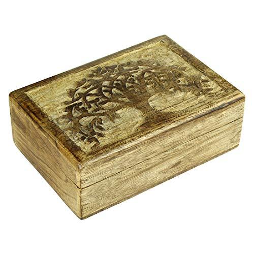 Aheli Wooden Handmade Tree of Life Jewelry Keepsake Trinket Storage Box Organizer Home Kitchen Decorative]()