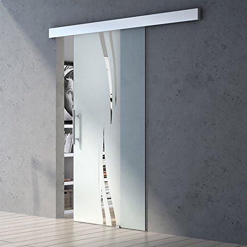 Ancho: 77,5 x 205 cm Diseño de correderas de cristal de puerta de Amalfi TS16-775, de vidrio templado de cristal de seguridad, parte de satén, puerta corredera, puerta de cristal, las habitaciones