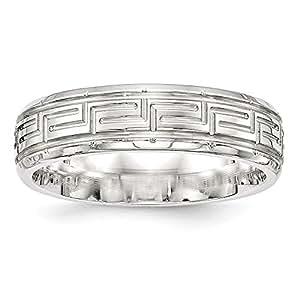 Plata de ley y 6 mm de tamaño del anillo pulido Fancy P 1/2 - JewelryWeb