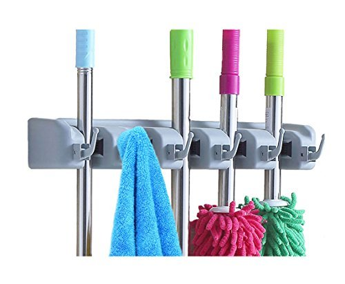 Surick Mop and Broom Holder Wall Mounted ,Garden Tool Storage Tool broom organizer with 5 Ball Slots and 6 Hooks,(Gray) (Broom Holder Rubber compare prices)